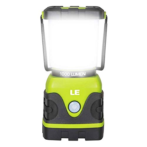 LE LED Camping Lantern, Battery Powered LED with 1000LM, 4 Light Modes, Waterproof Tent Light, Perfect Lantern Flashlight for Hurricane, Emergency, Survival Kits, Hiking, Fishing, Home and More -