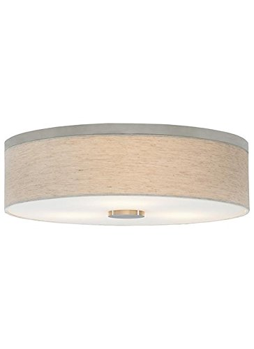 LBL Lighting FM700LISCCF1HE Drum Shade Flush Mounts with Fabric Linen with Opal Glass Diffuser Shades, (Fabric Shade Glass)