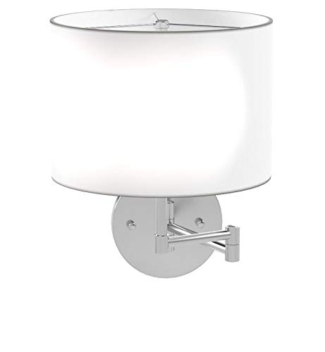 - Lite Source LS-16515WHT Kasen Swing Arm Wall Lamp, Polished Steel, White Fabric Shade