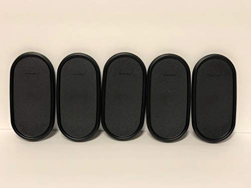 Tupperware Set of 5 Modular Mates OVAL Replacement Seals/Lids ONLY - BLACK