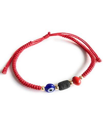 Powerful Prosperity Red Unisex Bracelet Evil Eye Peonia Real Azabache Pulsera para el Mal de Ojo