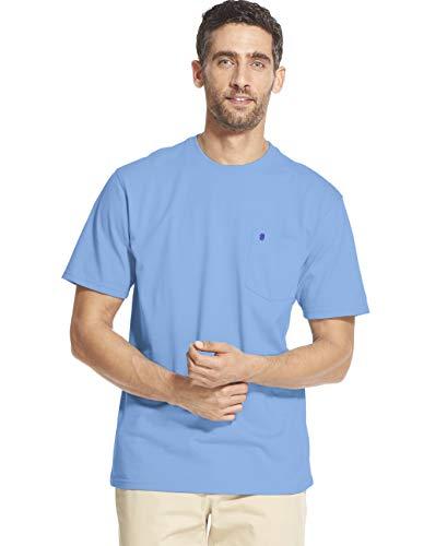 (IZOD Men's Saltwater Short Sleeve Solid T-Shirt with Pocket, Blue Revival, Large)