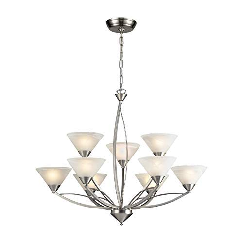 Chandelier Elysburg Light 3 - Elk 7638/6+3 Elysburg 9-Light Two Tier Chandelier with White Marbleized Glass Shade, 3 34