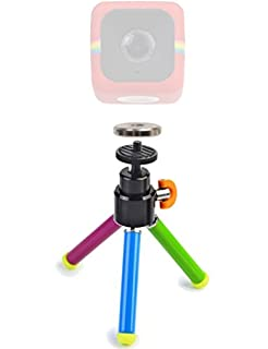 """Polaroid 8"""" Color Heavy Duty Mini Tripod With Pan Head With Tilt + Polaroid Magnet to Tripod Adapter Mount For Polaroid Cube, Cube+ Action Camera - Mount Your Cube To The Tripod (B00WRK9YV2) 