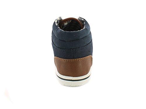Neu Jungen/Kinder Marineblau Niedrig Schnitte Schnürbar, Gepolsterter Kragen Stiefeletten marineblau/Braun/weiß - UK GRÖßEN