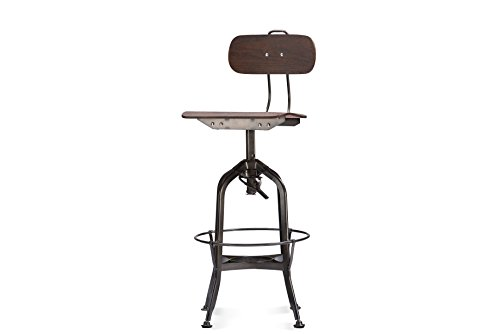 Wholesale Interiors Steel Bar Stool - Baxton Studio Justin Distressed Bar Chair with Adjustable Seat, Natural