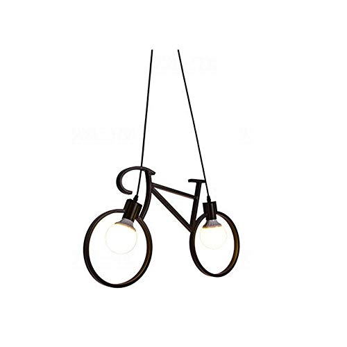 Qyyru Industrial Wrought Iron Bicycle Industrial Dining Room Pendant Light/Retro Creative Dining Table Chandelier/Ceiling Lamp Concrete Grey With Steel/Nickel Matt/Satin - Round E27-E26 Max Indoor Lig - Nickel Matt Ceiling Lamp