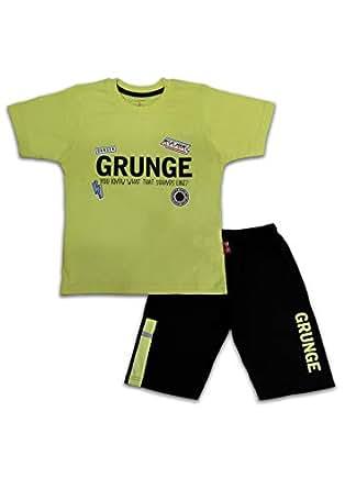 Ferucio Boys T-Shirt With Capri Set, Light Green/Black