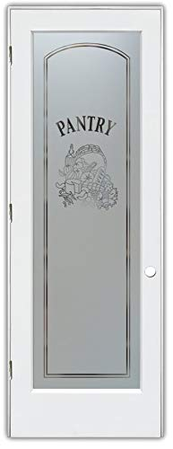 Pantry Door Vino Arched Sandblast Etched Glass Door