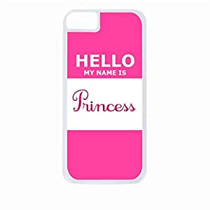 Hello My Name Is Princess- Hard White Plastic Snap - On Case with Soft Black Rubber Lining-Apple Iphone 4 - 4s - Great Quality!