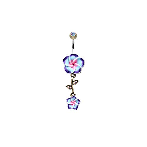 - Pierced Owl Vintage Boho Hawaiian Plumeria Flower Dangle Belly Button Navel Ring (Aurora Borealis/Purple)