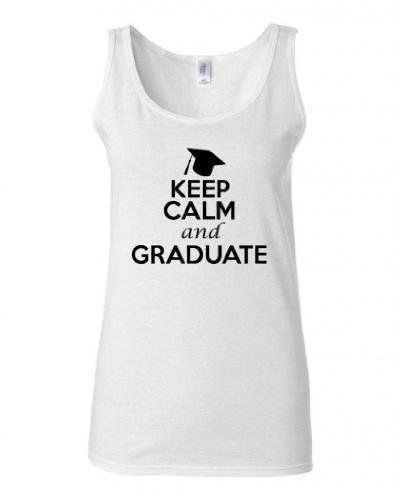 Junior Keep Calm And Graduate Graphic Humor Novelty Tank Top (XXX Large, White w/Black) (Cute Toga Ideas)