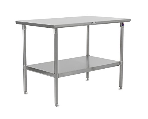 John Boos Stallion ST6-3660SSK Stainless Steel Flat Top Work Table with Adjustable Stainless Steel Lower Shelf and Legs, 60'' Length x 36'' Width by John Boos