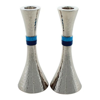Art Judaica Modern Hammered Aluminum Candlesticks for Shabbat and Holidays (Silver with Turquoise Band, 9 1/2