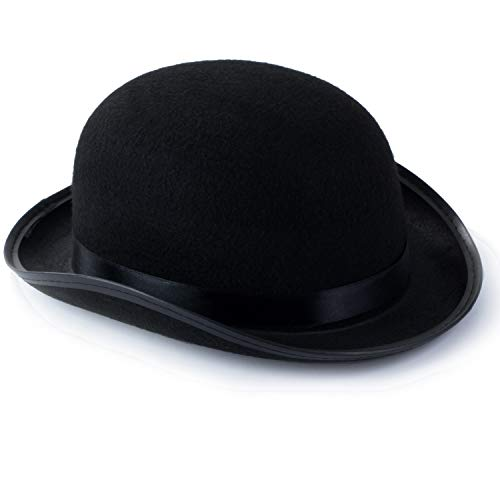 (Funny Party Hats Dress Up Hats for Adults - Costume Party Hats for Men Women Unisex (Black Derby Bowler Top Hat))