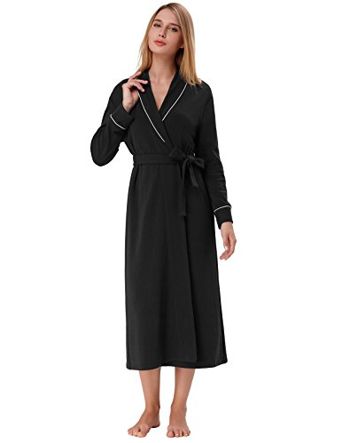 (Spring Warm Long Robe Stretchy Lounge Robe for Women Night Cloth Black Size XL )