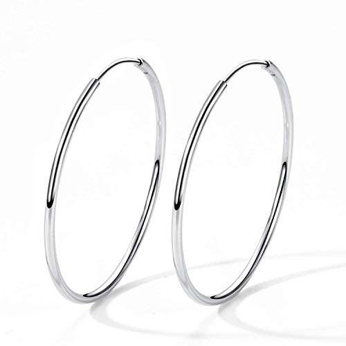 T400 925 Sterling Silver Hoop Earrings Large and Small Thin Lightweight Hoops ♥ Birthday Gift for Women 25 35 40 45 50 55 60 65 mm 35mm Sterling Silver Hoop Earrings