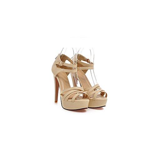 OCHENTA Mujer Zapatos Tacones Estilete de Plataforma Punta Abierta #08Albaricoque