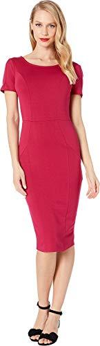 Mod Clothes 60s - Unique Vintage Women's 1960s Short Sleeve Stretch Mod Wiggle Dress Raspberry Pink X-Large