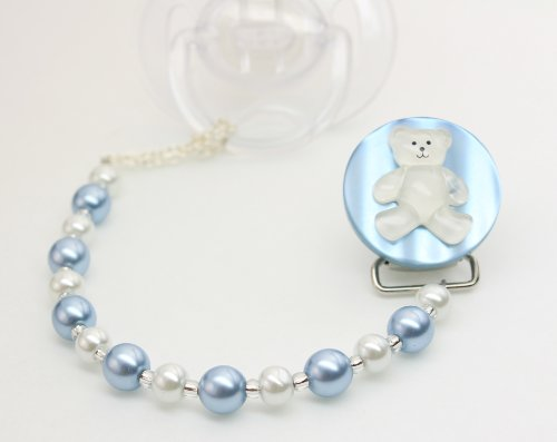 Crystal Dream Luxury Blue and White Simulated Pearl Beads with Handmade Teddy Bear Keepsake Unisex Infant Pacifier Clip 8 Inch (CTB)