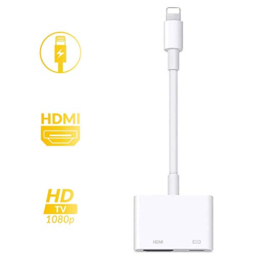 [Apple MFi Certified] Lightning to HDMI Adapter Converter iPhone to HMDI Coupler 1080P Digital AV Adapter 2 in 1 Plug and Play Digital AV Connector Compatible for iPhone X iPhone 8/7/Plus iPad iPod