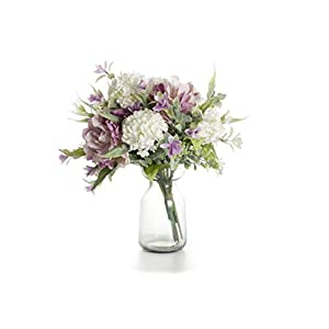 LTWHOME Artificial Flowers Silk Bouquet with Peony, Hydrangea, Orchid for Home Hotel Wedding Decoration Part Number AFHP 22