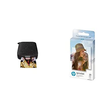 HP Sprocket Portable Photo Printer (2nd Edition) and Sprocket Photo Paper, (2x3-inch), sticky-backed 20 sheets