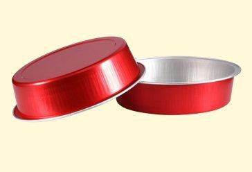 KEISEN 4 2/3'' mini Disposable Aluminum Foil Cups 215ml for Muffin Cupcake Baking Bake Utility Ramekin Cup 24/PK (Red)