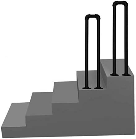 Metal Transitional Handrail for Cement Concrete Steps and Wooden StepsBlack Handrail Picket for Outside StairsStair Rail Hand Rails Railing for Condo Loft Villa Corridor Garden