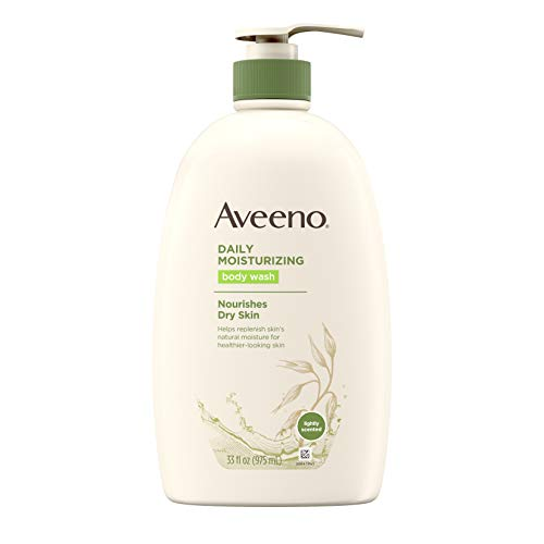 (Aveeno Daily Moisturizing Body Wash with Soothing Oat, Creamy Shower Gel, Soap-Free and Dye-Free, Light Fragrance, 33 fl. oz)