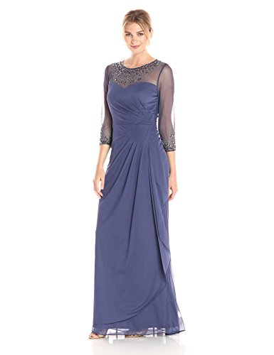 Alex Evenings Women's Long A-Line Sweetheart Neck Dress (Petite and Regular Sizes), Violet, 6