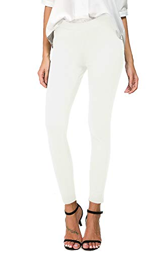 Bamans Womens Slim Comfort Fit Skinny Leg Stretch Pull-On Work Pants, White Large ()