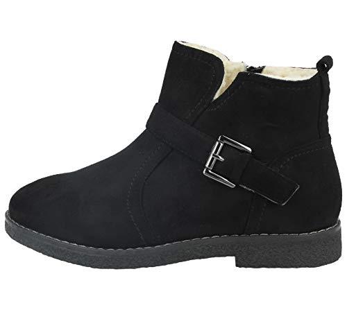 8 Ankle Lined Ladies Footwear Faux Faux Cushion Foster Lotti Size Buckle Detail Walk Suede Chelsea Flat Warm Sheepskin 3 Black Fur Boots fRxOawq