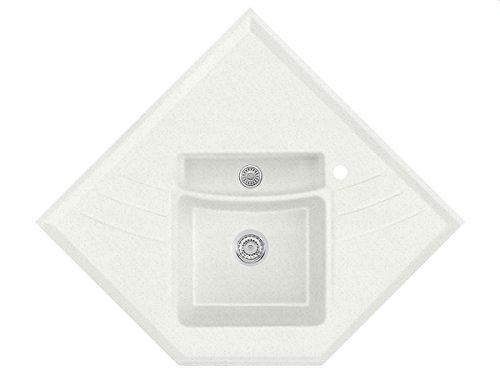 Systemceram Vega Eck Plus Campina Keramik-Spüle Handbetätigung Beige Küchenspüle