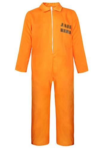 Famajia Men's Prisoner Jumpsuit Costume Orange Prison Inmate Halloween Costume Unisex Jail Criminal Yellow -