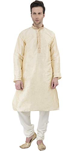 (SKAVIJ Men's Tunic Art Silk Kurta Pajama Set Party Dress (X-Large, Beige))