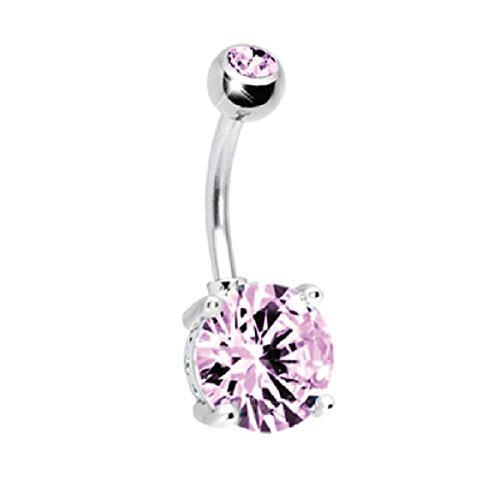 BodyJ4You 14G Big CZ Crystal Belly Button Ring Pink Navel Barbell with 1 Belly Retainer (1.6mm)