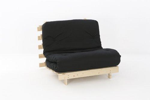 Comfy Living 3ft LUXURY Single (90cm) Wooden Futon Set PREMIUM LUXURY Black Mattress