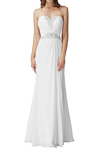 Partykleider Brautjungfernkleider Marie Chiffon Traegerlos La Lang Abendkleider Etuikleider Braut Weiß Pfrisisch qHxwF8aS
