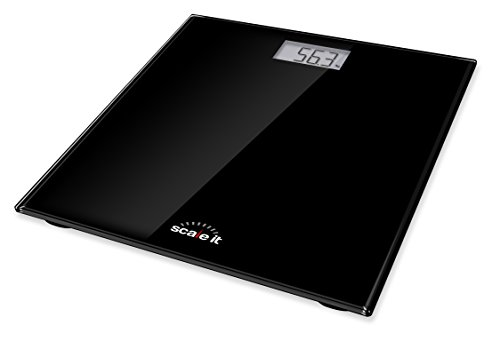 - Scaleit Digital Bathroom Scale - LCD Display with Backlight - Black Tempered Glass - 400 LB Capacity
