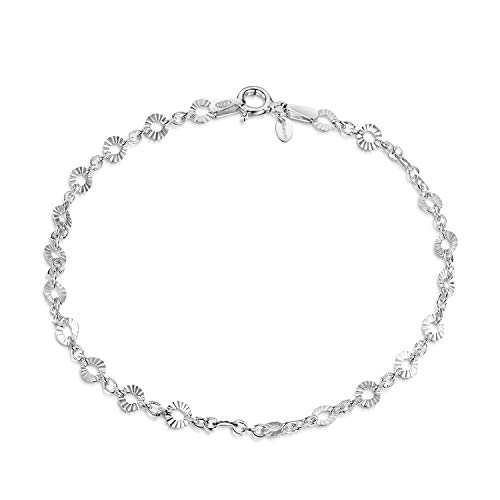 - Amberta 925 Sterling Silver 1.5 mm Trace Chain Bracelet with 4 mm Disc Length 7