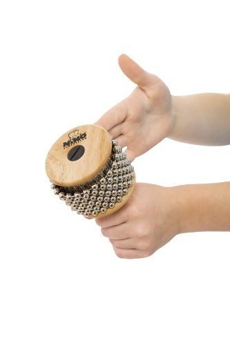 Nino Percussion NINO702 Kids Wooden Cabasa with Stainless Steel Beaded Chain and Cylinder for Classroom Band/Music