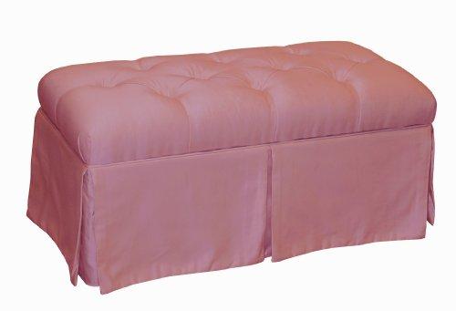 Surrey Skirted Tufted Storage Bench by Skyline Furniture in Woodrose Shantung (Skyline Ottoman Tufted)