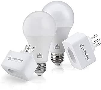 Kit Casa Eficiente, Positivo Casa Inteligente (2 Smart Lâmpadas Wi-Fi + 2 Smart Plugs Wi-Fi), Compatível com Alexa