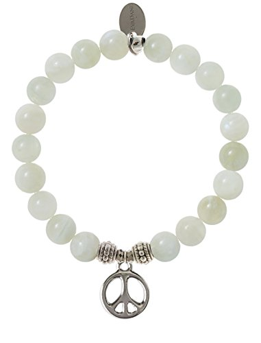 EvaDane Natural Moonstone Gemstone Rope Bead Peace Sign Charm Stretch Bracelet - Size 7 Inch ( 1_MOO_S_R_PEA_7)