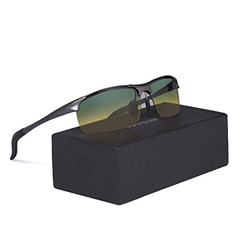 Men's Day and Night Vision Glasses RAYSUN HD Polarized Anti-Glare Rain Day Safety for Driving and outdoor - Driving For Best Lenses Sunglass