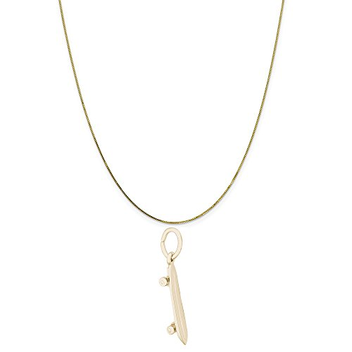 Rembrandt Charms 14K Yellow Gold Skateboard Charm on a 14K Yellow Gold Box Chain Necklace, 16