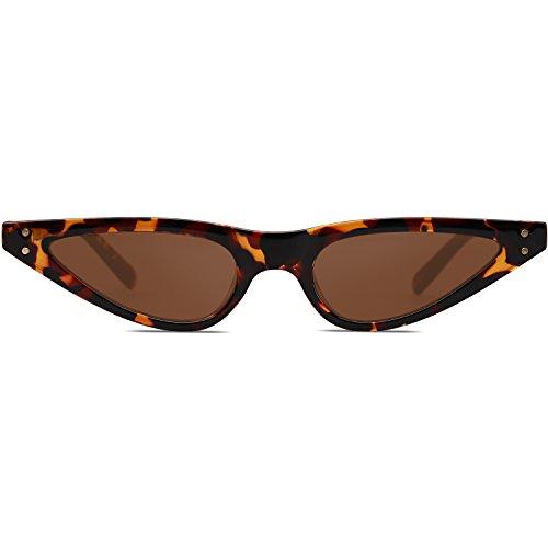 De C2 Sol Marco SOJOS Cat Demi Eye para Mujer Moda SJ2046 Gato Gafas De Ojo Sunglasses Lente Marrón WAAqg1YER
