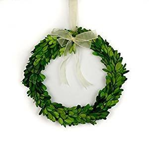 Tradingmsith Preserved Boxwood Round Wreath - 10 inch with Ribbon 101