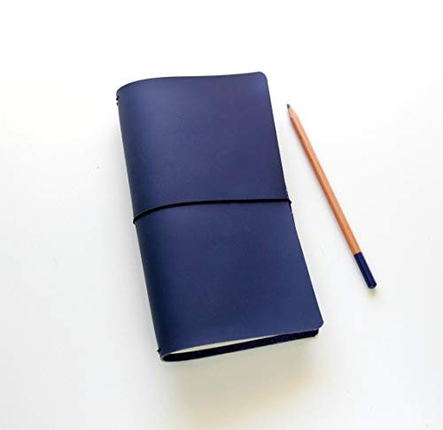 Travelers Notebook, Modern Matte Navy. Traveler's Notebook Inserts, Vegan Leather Travel Journal. Midori Travelers Notebook Blue Edition Style Travel Journal, Quad binding, Fauxdori Travelers Notebook ()